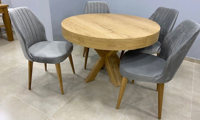 2 שולחן אוכל עגול נפתח ו-4 כיסאות OR design דגם אזמרגד