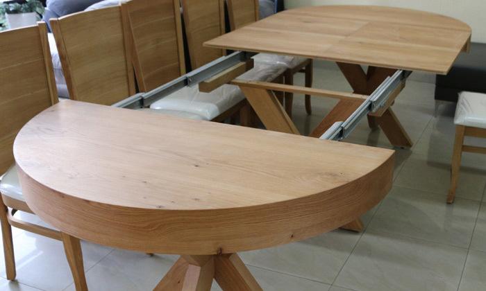 5 שולחן אוכל עגול נפתח ו-4 כיסאות OR design דגם אזמרגד