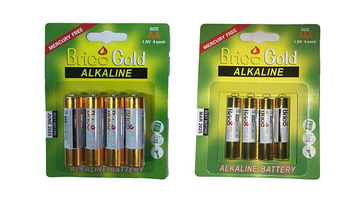 2 מארז 80 סוללות brico gold מקוריות: 40 סוללות AA ו-40 סוללות AAA