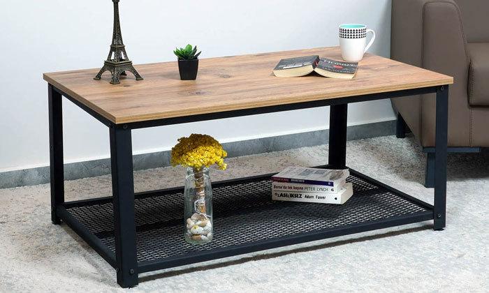 3 שולחן סלון בגוון אלון בשילוב שחור ראמוס עיצובים