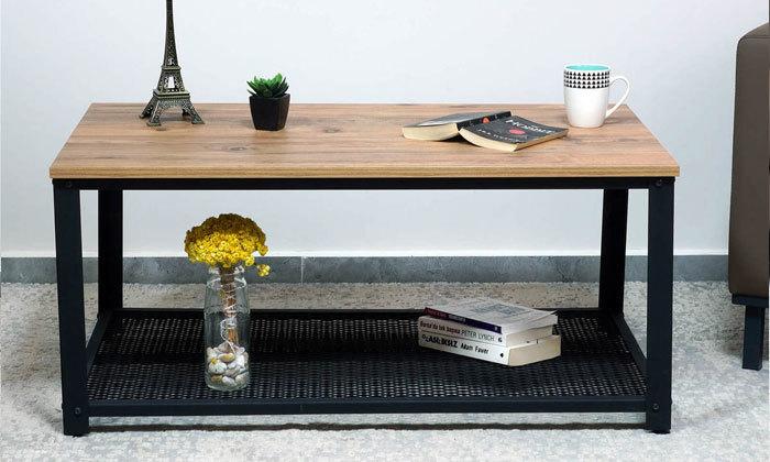 2 שולחן סלון בגוון אלון בשילוב שחור ראמוס עיצובים