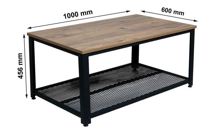 4 שולחן סלון בגוון אלון בשילוב שחור ראמוס עיצובים