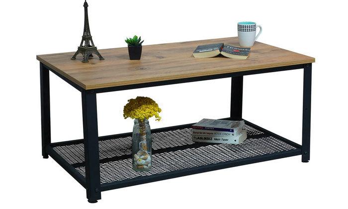 5 שולחן סלון בגוון אלון בשילוב שחור ראמוס עיצובים