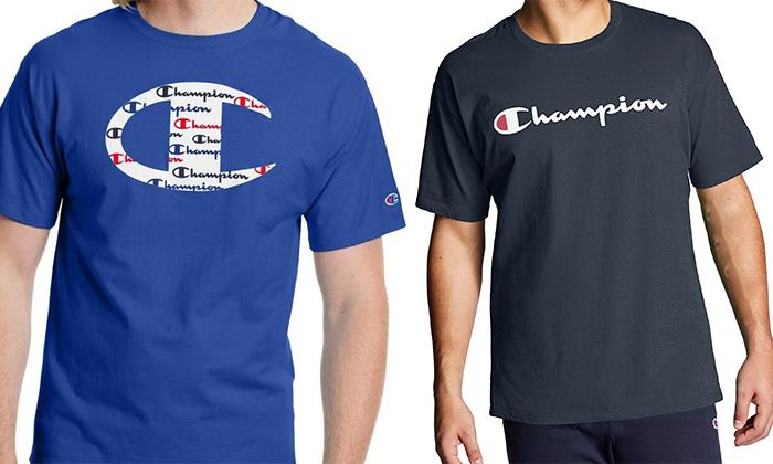 2 זוג חולצות טי שירט 100% כותנה CHAMPION במבחר דגמים וצבעים