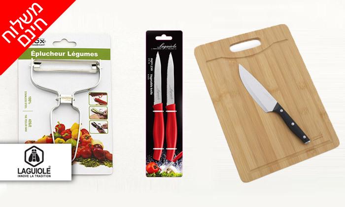 2 מארז קרש חיתוך, 3 סכינים וקולפן LAGUIOLE - משלוח חינם
