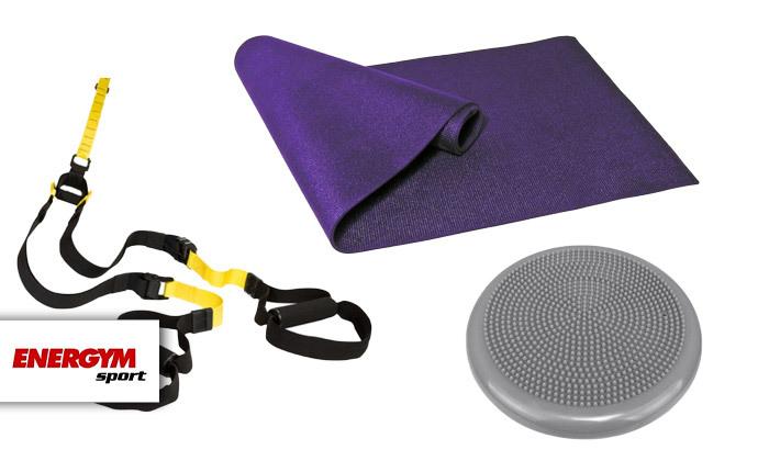 2 סט אימון עם מזרן יוגה, כרית באלאנס ורצועות אימון - משלוח חינם