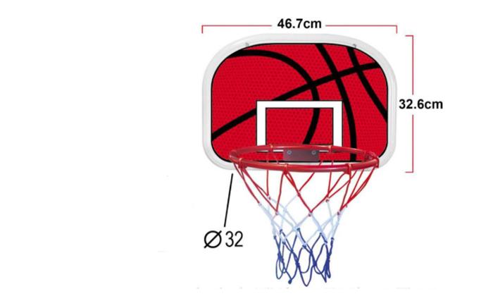 4 לוח כדורסל ביתי לתלייה על דלת או קיר, כולל כדור