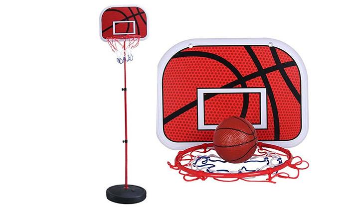 2 לוח כדורסל עם מוט מתכוונן