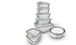 8 קופסאות זכוכית עם נעילת LOCK