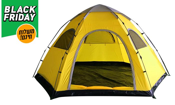 4 אוהל עמידה משפחתי ל-6 אנשים ו-4 מזרני שטח - משלוח חינם