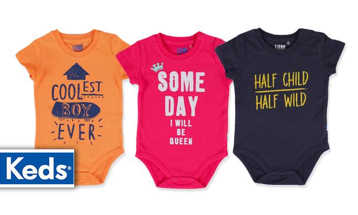 2 3/6 בגדי גוף לתינוקות 100% כותנה KEDS