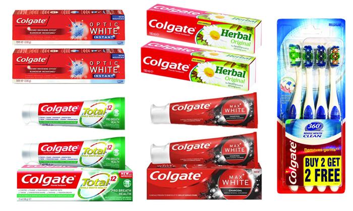 2 מארז 8 יחידות משחת שיניים ו-4 מברשות שיניים קולגייט Colgate