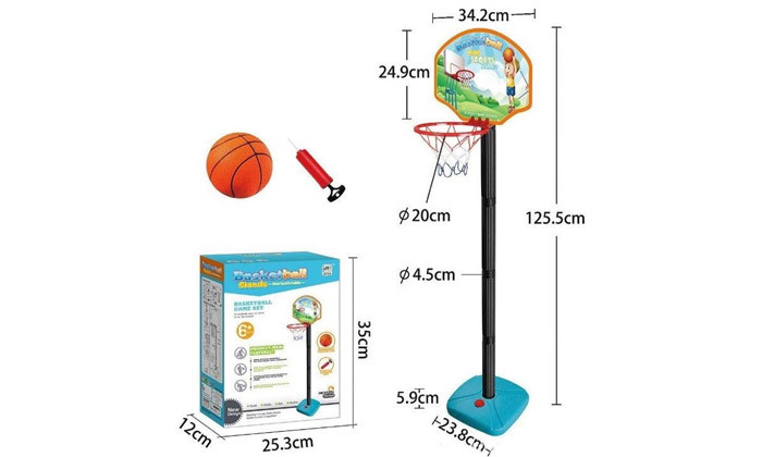 3 מתקן כדורסל לילדים כולל כדור ומשאבה ידנית