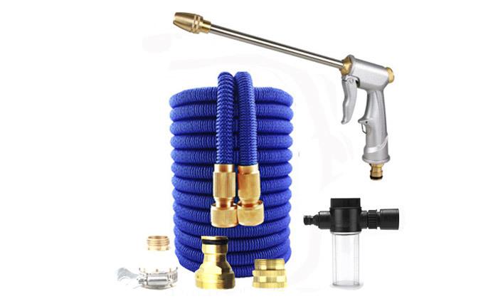 2 צינור גינה מתרחב עם אקדח לחץ ומכל סבון