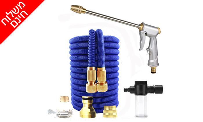 2 צינור גינה מתרחב עם אקדח לחץ ומכל סבון - משלוח חינם