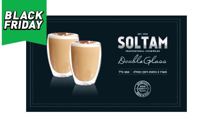 """3 סולתם SOLTAM: סט 6 כוסות זכוכית 350 מ""""ל עם דופן כפולה"""