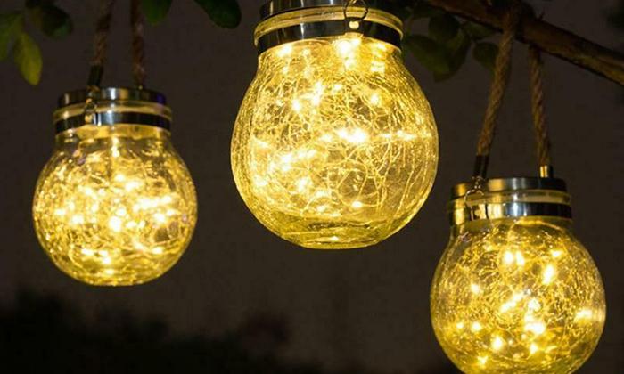 2 מנורת כד זכוכית סולארית ושרשרת נורות LED