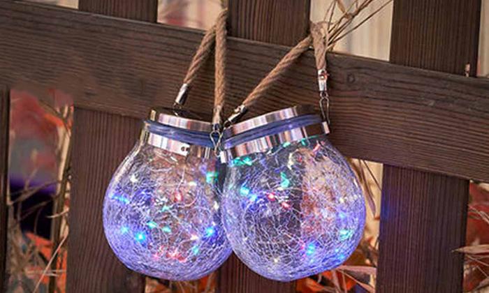 7 מנורת כד זכוכית סולארית ושרשרת נורות LED