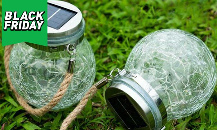 3 מנורת כד זכוכית סולארית ושרשרת נורות LED