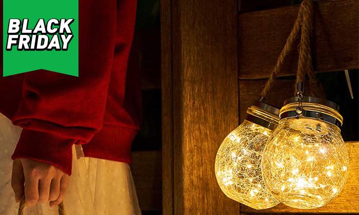 4 מנורת כד זכוכית סולארית ושרשרת נורות LED