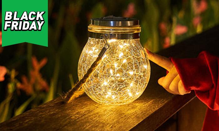 5 מנורת כד זכוכית סולארית ושרשרת נורות LED