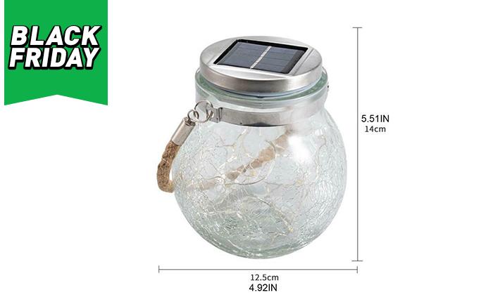 6 מנורת כד זכוכית סולארית ושרשרת נורות LED