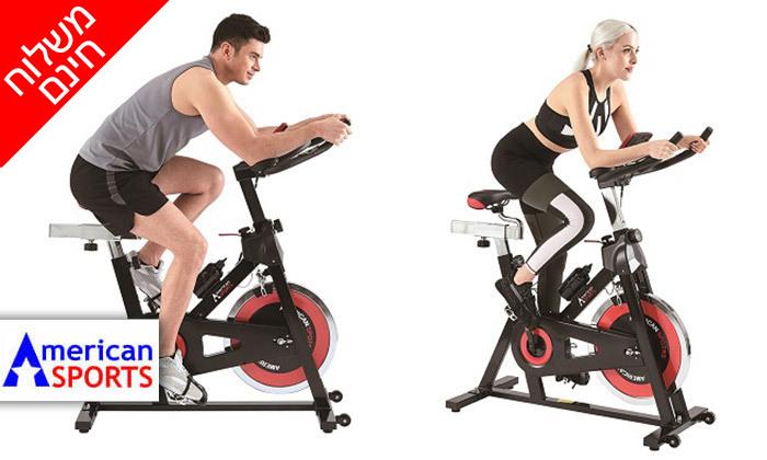 """2 אופני ספינינג עם גלגל תנופה 15 ק""""ג American SPORTS - משלוח חינם"""