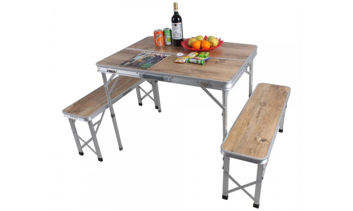 4 שולחן פיקניק מתקפל עם ספסלים