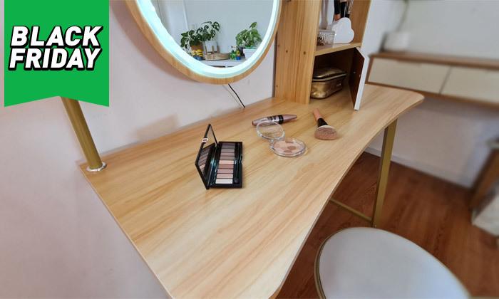 10 שידת טואלט עם שולחן וכיסא לילדות דגם Bell - מידות לבחירה