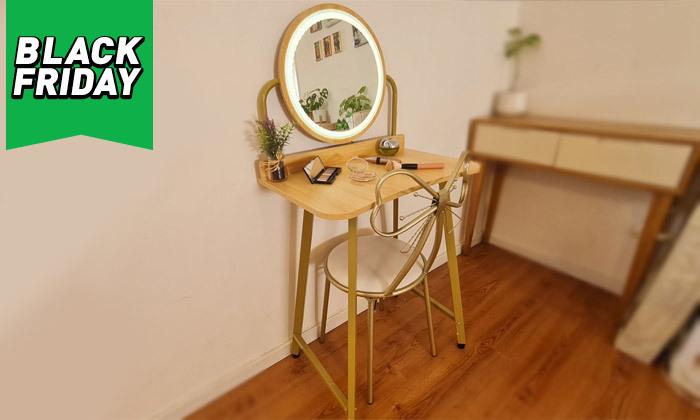 12 שידת טואלט עם שולחן וכיסא לילדות דגם Bell - מידות לבחירה