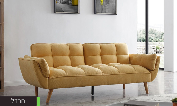 6 ספה תלת מושבית נפתחת למיטה - צבעים לבחירה