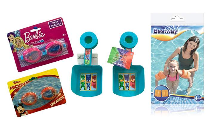 2 3 אביזרי בריכה וים לילדים לבחירה:משקפת פלסטיק, מצופיםוכף חול