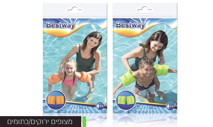 3 3 אביזרי בריכה וים לילדים לבחירה:משקפת פלסטיק, מצופיםוכף חול