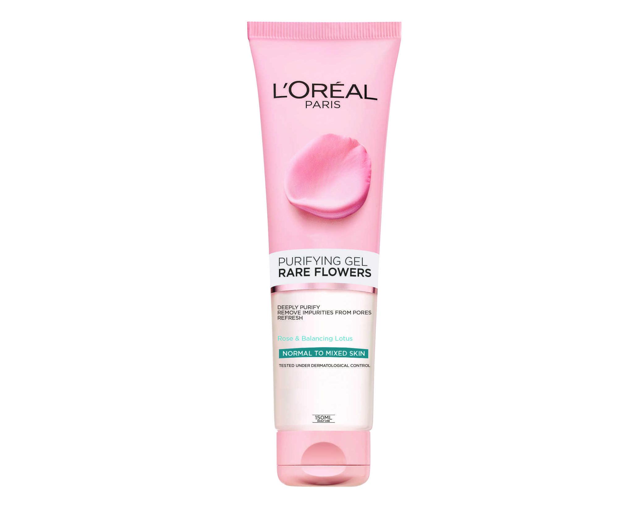 """2 ג'ל ניקוי פנים לעור רגיל 150 מ""""ל L'OREAL מסדרת Rare Flowers"""