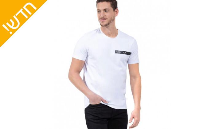 2 חולצת טי שירט לגבר נאוטיקה NAUTICA בהדפס לוגו עם פס מבריק