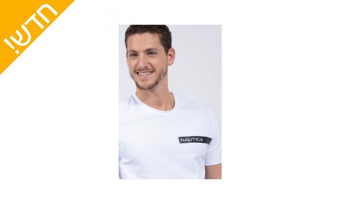 3 חולצת טי שירט לגבר נאוטיקה NAUTICA בהדפס לוגו עם פס מבריק