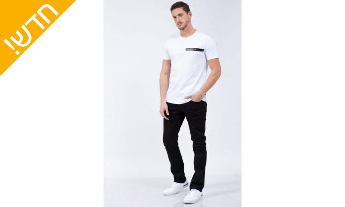 5 חולצת טי שירט לגבר נאוטיקה NAUTICA בהדפס לוגו עם פס מבריק