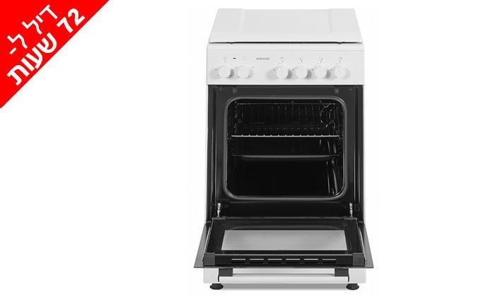 3 דיל לזמן מוגבל: תנור 50 ליטר עם כיריים גז Sonab בצבע לבן