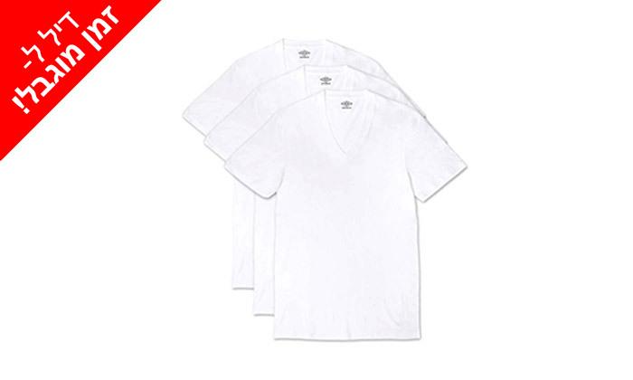 3 לזמן מוגבל: 6 חולצות גברים 100% כותנה Umbro בצבע לבן עם צווארון עגול / V