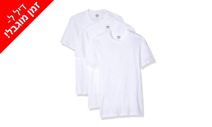 5 לזמן מוגבל: 6 חולצות גברים 100% כותנה Umbro בצבע לבן עם צווארון עגול / V