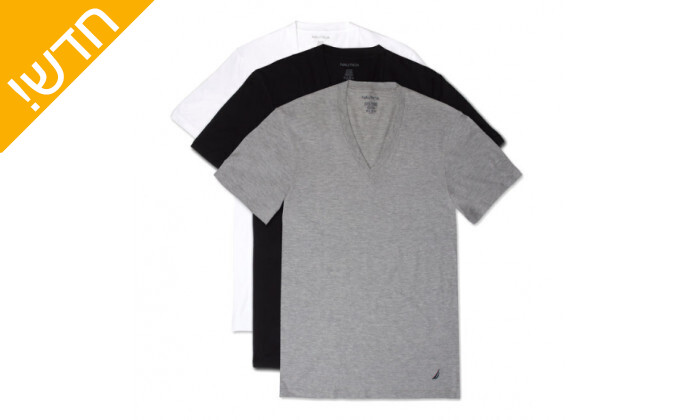 3 מארז 6 חולצות טי שירט נאוטיקה לגבר Nautica