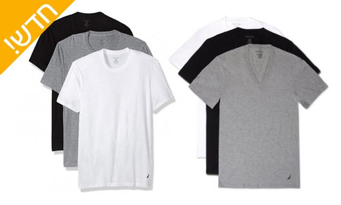 2 מארז 6 חולצות טי שירט נאוטיקה לגבר Nautica