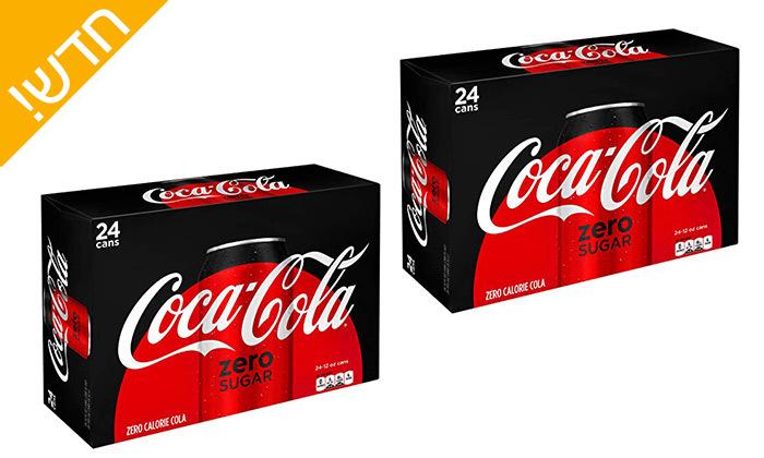 4 מארז 48/96 פחיות שתייה קוקה קולה/זירו Coca Cola