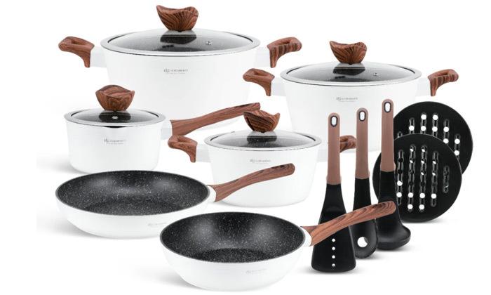 3 סט כלי בישול 15 חלקים Edenberg מסדרת Wood