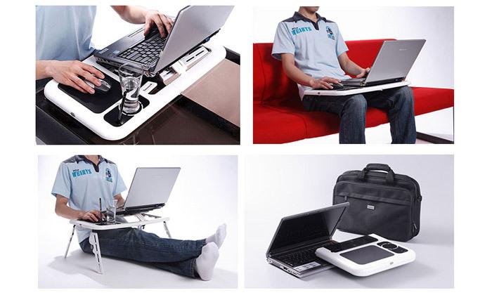 4 שולחן לפטופ מתקפל עם רגליים מתכווננות