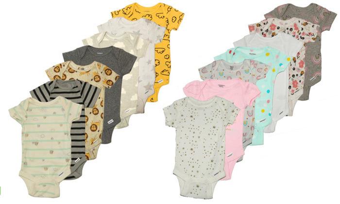 2 14 בגדי גוף קצרים לתינוקות Gerber - צבעים לבחירה