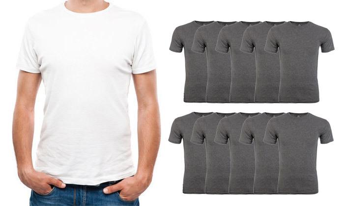 2 מארז 10 חולצות טי שירט 100% כותנה לגברים - צבעים לבחירה
