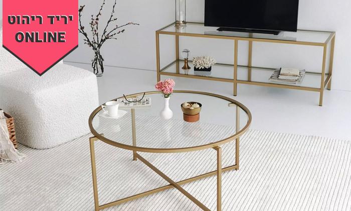 8 שולחן קפה דגם בייסיק עם משטח זכוכית
