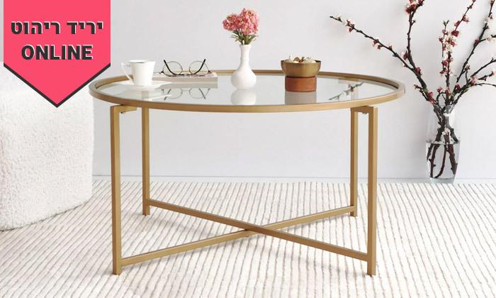 2 שולחן קפה דגם בייסיק עם משטח זכוכית