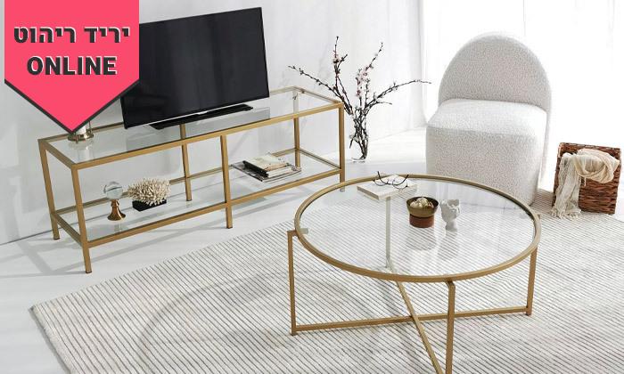 3 שולחן קפה דגם בייסיק עם משטח זכוכית